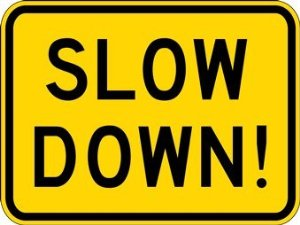 slow down ! in the car park